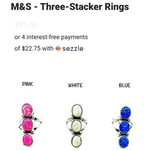 Sterling Silver Pink Opal Stacker Ring.